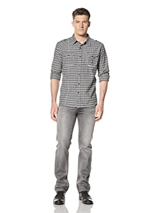 ONE90ONE Men's Lucious Plaid Shirt (Black)