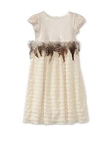 C'est Chouette Couture Girl's Jackie-O Ruffle Dress (Cream)