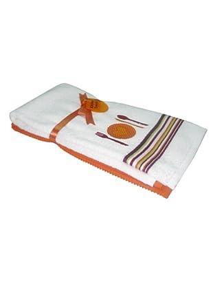 Manterol Paño Cocina Bordado Set 2 (Naranja)