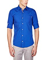 GHPC Men's 100% Cotton Casual Shirt(CS62504_38_Royal Blue)