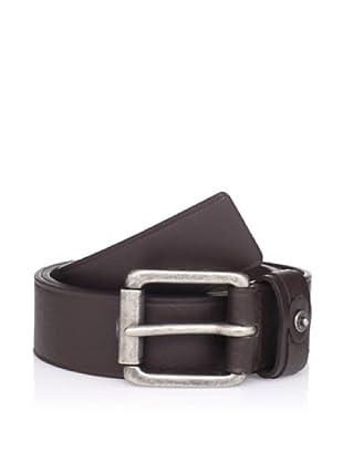 Calvin Klein Men's Flat Strap Belt with Heat Crease (Brown)