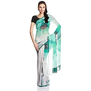 SatyaPaul Georgette Sari with Blouse Piece in Green