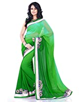 Sourbh Saree Orange Faux Georgette Must Have Best Sarees for Women Party Wear, Special Karwa Chauth Gifts for Wife, Women Clothing Collection
