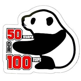 コトワザステッカー/パンダ《50歩100歩/50 steps or 100 steps》防水加工 シネマコレクション