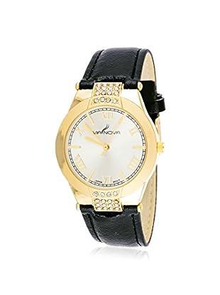Via Nova Women's NWL301958G-BK Swarovski Elements Black/White Stainless Steel/Leather Watch