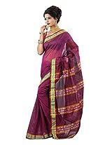 Cotton Embroidered Purple Zari Work Saree - TSJE12840B