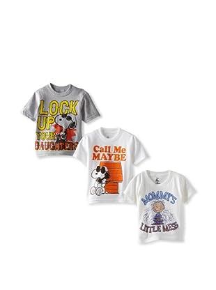 Freeze Boy's Peanuts 3 Pack T-Shirt Bundle (White/White/Heather Grey)