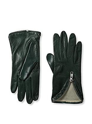 Portolano Women's Perforated Leather Gloves with Zipper Trim (Conifer Green)