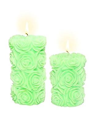 Volcanica Set of 2 Lime Green Flora Pillar Candles