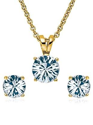 Saint Francis Crystals Set, 3-teilig Kette und Ohrstecker Made With Swarovski® Elements gelbvergoldet