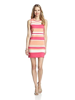 Magaschoni Women's Sleeveless Crewneck Striped Dress (Coral Reef)