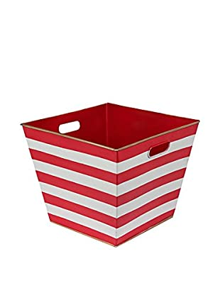 Malabar Bay Horizontal Stripe Storage Bin, Red