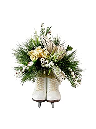 Creative Displays Ice Skates with Wintry Pine Display, White/Green