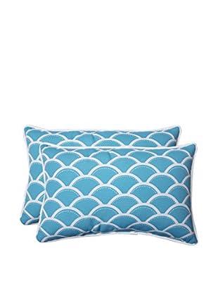 Pillow Perfect Set of 2 Indoor/Outdoor Sunny Turquoise Lumbar Pillows, Blue