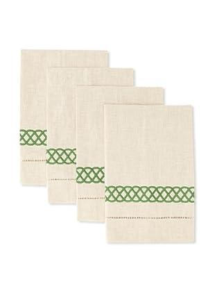 D.L. Rhein Set of 4 Infinity Band Guest Towels (Apple Green)