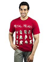 XTeeC Burnt Red Cotton Printed Round Neck Tshirt - Small