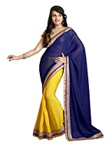 Trynget'S Blue & Yellow Color Half-Half Branded Saree