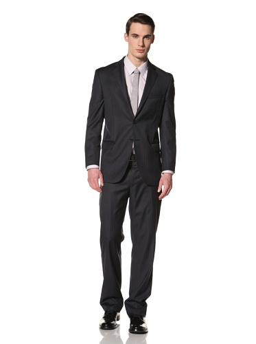 Yves Saint Laurent Suits in Loro Piana Wool Men's Two Tone Striped Classic Suit (Navy/Light Blue)