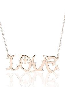 "Catherine Angiel Rose Gold ""Love"" Graffiti Necklace"