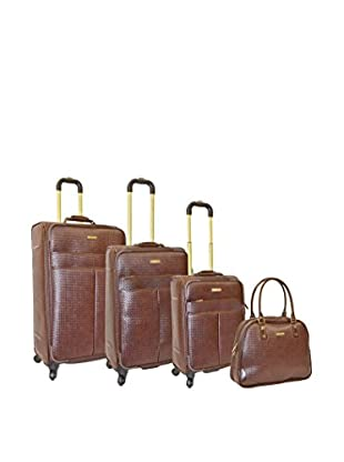Adrienne Vittadini Woven 4-Pc Luggage Set, Brown