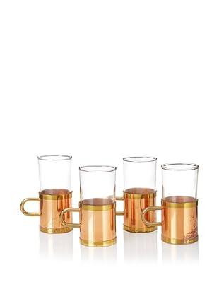 Set of 4 Vintage Copper Tea Glasses, Copper