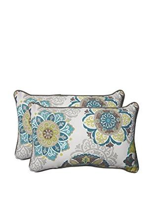 Pillow Perfect Set of 2 Indoor/Outdoor Allodala Oasis Lumbar Pillows, Blue