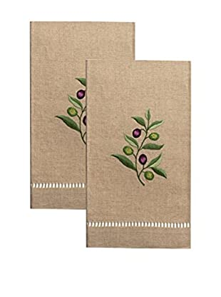 Henry Handwork Set of 2 Olive Branch Embroidered Hand Towels, Natural