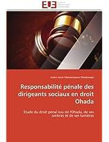 Responsabilite Penale Des Dirigeants Sociaux En Droit Ohada