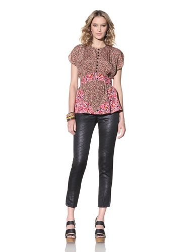 Anna Sui Women's Mixed Floral Print Top (Pink/Brown)