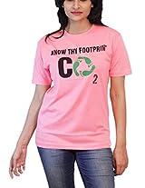 THESMO Women's Round Neck Cotton T-Shirt, Pink, XL