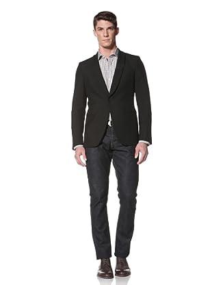 Simon Spurr Men's Shawl Lapel Sport Coat (Black)