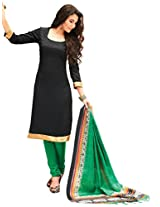 Inddus Women Black & Green Printed Dress Material