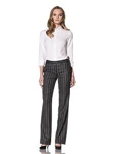 Loro Piana Women's Silk Pinstriped Trouser (Black)