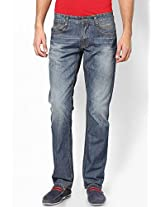 Solid Blue Slim Fit Jeans John Players
