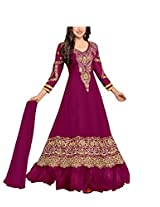 Vibes Women Gorgette Salwar Suit Dress Material (V168-36000G -Pink -Free Size)