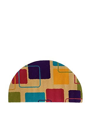 Trade-Am Vibrance Lines & Shapes Half-Moon Rug, Ivory, 22