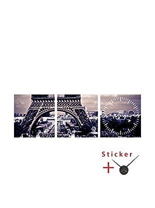 Ambiance Live Wandtattoo 3 tlg. Set Eiffel Tower view and (Clock) schwarz/weiß