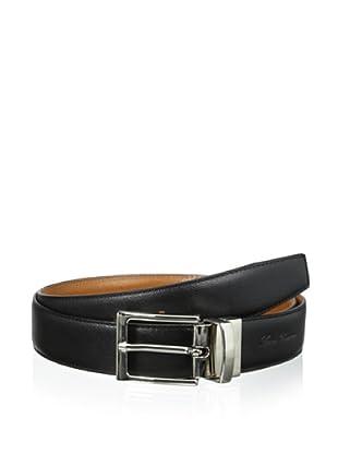 Leone Braconi Men's Saffiano Reversible Belt (Black/Cognac)