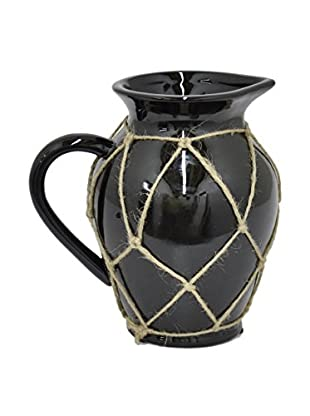 Three Hands Short Ceramic Pot with Rope Detail, Black