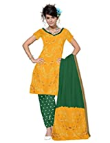 Kala Sanskruti Women's Cotton Silk Blend Yellow Dress Material