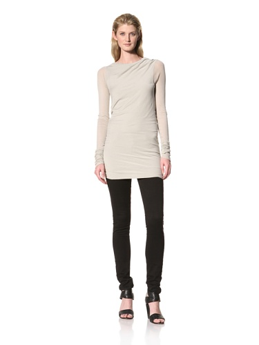 RICK OWENS Women's Long Sleeve Boat Neck Top (Pearl)