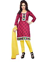 vaamsi embroidered printed dress material (Paro1007_Red_Free Size)