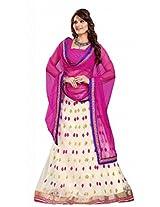 Suchi Fashion Cream and Pink Embroidery Work Net Semi Stitched Lehenga