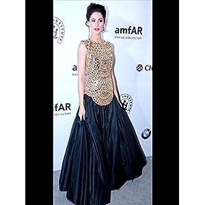 Bollywood Design Nargis Fakhri long anarkali dress black