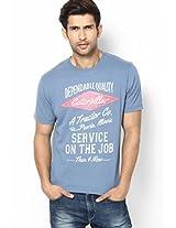 Solid Aqua Blue Crew Neck T Shirt