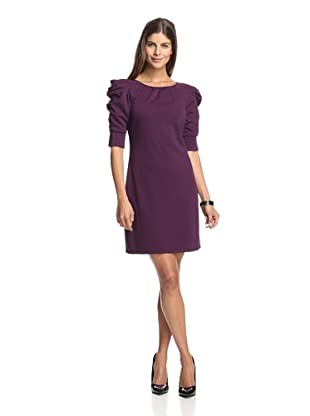 Jessica Simpson Women's Ponte Dress with Ruched Sleeves (Currant)