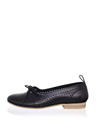 Swedish Hasbeens Women's Perforated Flat (Black/nature)