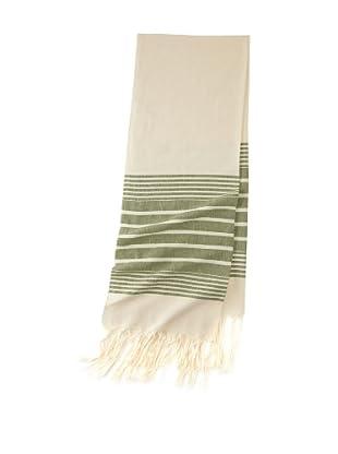 Mili Designs Women's Essouria Striped Cotton Scarf (Cream/Green)