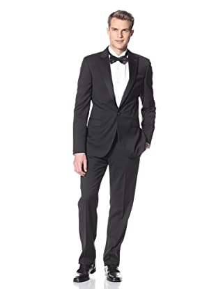 Calvin Klein Collection Men's Bowery 1 Button Peak Lapel Tuxedo (Black)