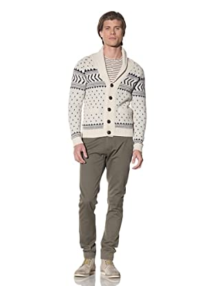 Shades of Grey by Micah Cohen Men's Iceland Cardigan (Ivory/Blue)